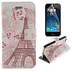 WQQ Eiffel Tower and Flower Design PU Leather Full Body Cover with Stand and Protective Film for iPhone 5/5S