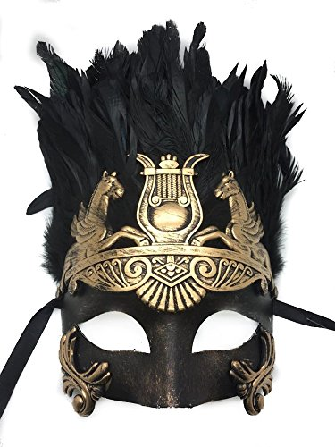 Gold or Silver Antique Roman Hercules Greek Ancient God of Egypt Mardi Gras Style Masquerade Mask with Feather (Greek God And Goddess Costume)