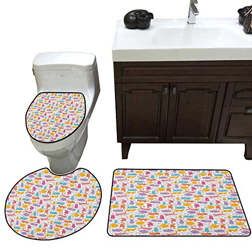 Cat Bath mat and Toilet mat Set Colorful Cat Figures Silhouettes and Outlines Bow Ties Sleeping Playing Happy Joyful Bathroom Toilet mat Set ()