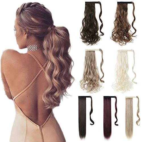 XBwig Straight Curly Natural Clip In Wrap Around Thick Ponytail Extension Synthetic Hair Extensions 23