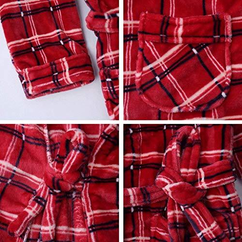 Festivo Invierno Otoño cuello Cuadros Larga Albornoz Camisones A Mujer V Manga Bunte Pijamas Batas De Marca Vintage Con Espesar Cinturón Pijama Mode Eq5wPC