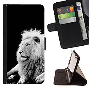 DEVIL CASE - FOR Sony Xperia Z3 D6603 - Lion Black White Mane Majestic Creature - Style PU Leather Case Wallet Flip Stand Flap Closure Cover