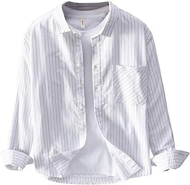 Icegrey Camisa Rayas Hombre Manga Larga Camisa Casual: Amazon.es: Ropa y accesorios