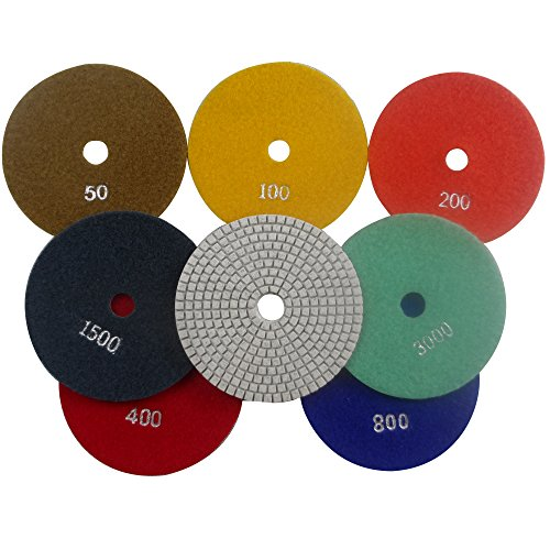 Konfor 5 Inch 7-Step Wet Diamond Polishing Pads Premium Grade for Stone Concrete Marble Granite 7 Pcs (Grit Diamond Pad)