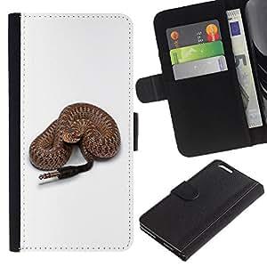 [Neutron-Star] Modelo colorido cuero de la carpeta del tirón del caso cubierta piel Holster Funda protecció Para Apple (5.5 inches!!!) iPhone 6+ Plus / 6S+ Plus [Funny Rattle Snake Speaker Plug]