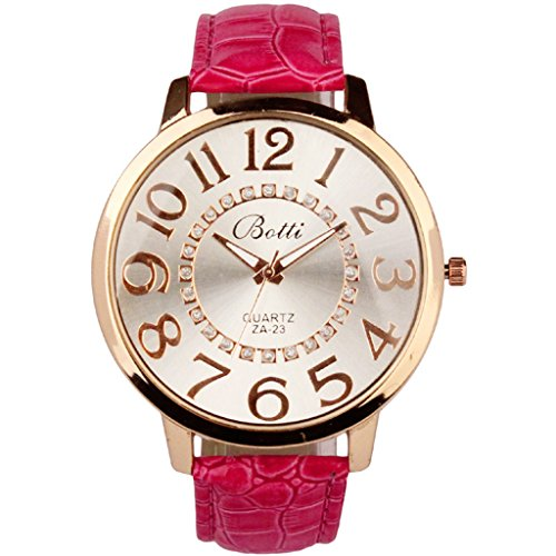 Womens Fashion Numerals Golden Dial Leather Analog Quartz Watch Red - 2