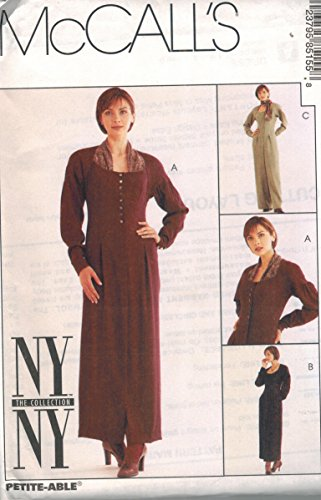 Misses Fitted Dress Jumpsuit Sewing Pattern Shoulder Yoke Pleated Sleeve Button Front Draped Inset Option McCall 8515 NY Collection (8)