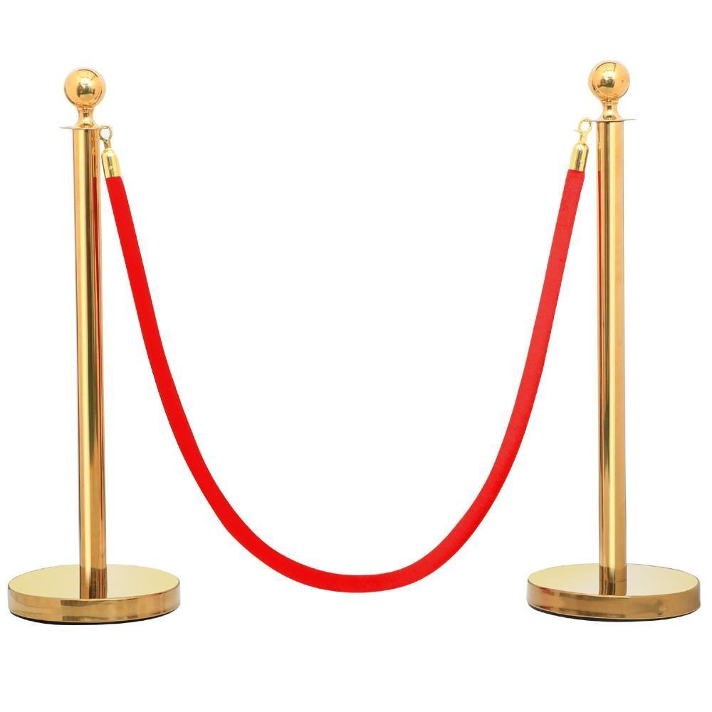 Yaheetech 2PCS Ball Top Stainless Steel Stanchion Posts w/ 6.5'Red Burgundy Polyester Rope Gold