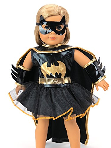 Little Batgirl Costume | Fits 18 American Girl Dolls, Madame Alexander, Our Generation, etc. | 18 Inch Doll Clothes