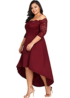 bff9f1431ff Jose Pally Women s Plus Size Lace Maxi Dress Off Shoulder Vintage Floral  3 4 Sleeve