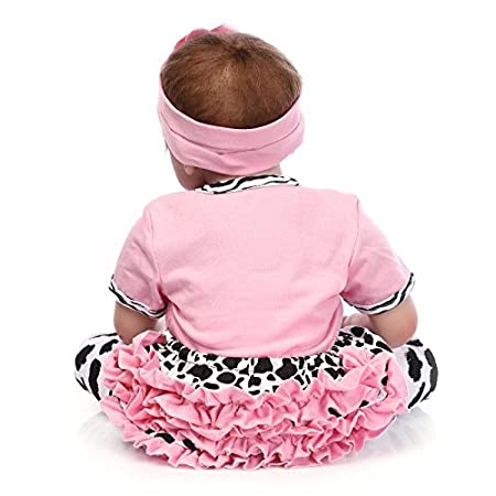 Bebé reborn de silicona suave, modelo durmiendo realista, con diadema con flor y estampado de vaca, 55 cm, niño/a