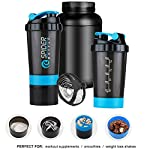 Rocketkart Gym Spider Shaker Bottle with Extra Compartment, 100% Leakproof Guarantee, Ideal for Protein, Preworkout…