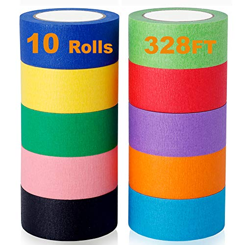 Colored Masking Tape 6 Pack Colored Painters Tape for Arts Art Supplies for Kids Crafts,Office Supplies Modeling Refill,DIY Label Making or Coding Coloured Tape (25mmX12m)