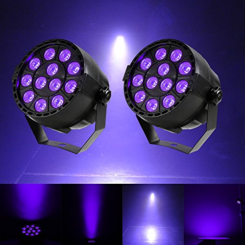 Gledto 2 Pack 36W 12 LEDs DJ Black Light UV LED Bar Wall Washer Light for Stage KTV Party Pub Club Disco Show Concert Celebration,Black (Dj Bar Light)