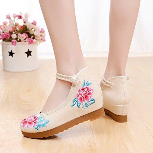 elegantes estilo estilo Tamaño Zapatos ballet del planas Beige mujeres Zapatos Color boda Beige de las bordados del del de la tacón 40 chino alto de Zapatos nacional xR8vqCqw