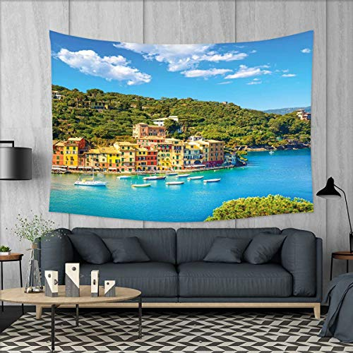 smallbeefly Italy Wall Hanging Tapestries Portofino Landmark Aerial Panoramic View Village and Yacht Little Bay Harbor Large tablecloths 84