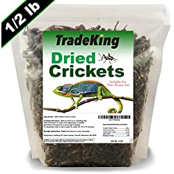 TradeKing Natural Dried Crickets - Nutritious Treat for Wild Birds, Chicken, Fish, Reptiles - (8 oz Resealable Bag) - Veterinary Certified