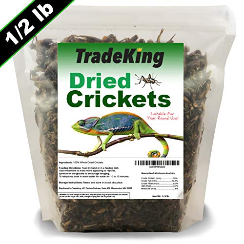 TradeKing Natural Dried Crickets - Food for Bearded Dragons, Wild Birds, Chicken, Fish, and Reptiles - (8 oz Resealable Bag) - Veterinary Certified