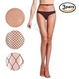 Women Fishnet Stockings – 3 or 4 Pairs Fishnets Tights for Dancing Party Halloween (One Size, Brown, 3 pairs)
