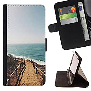 Summer Beach California Sun Ocean - Painting Art Smile Face Style Design PU Leather Flip Stand Case Cover FOR Sony Xperia M2 @ The Smurfs