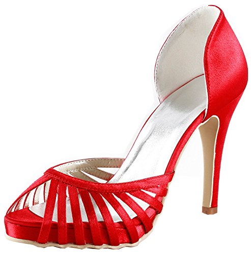 Kevin Fashion gymz690 Ladies Cut-Out satén zapatos de noche fiesta novia boda bombas sandalias flatfs Red