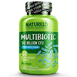 NATURELO Multibiotic – Ultra Strength – 50 Billion CFU – 11 Strains – One Daily – Best for Digestive Health and General…