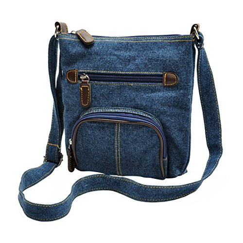 Aivtalk - Bolso Bolsa Bandolera Morral de Vaquero Denim Retro Vintage con Bolsillos para Mujeres chicas escuela - Azul Azul