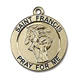 14kt Yellow Gold St. Francis Medal 1 x 7/8 inches
