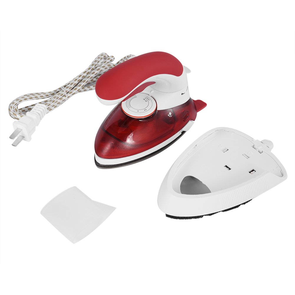 Aramox Handheld Steam Iron,Portable Electric Mini Anti-Drip Non-Stick Garment Laundry Wrinkle Steam Brush for Home (US Plug- Red)