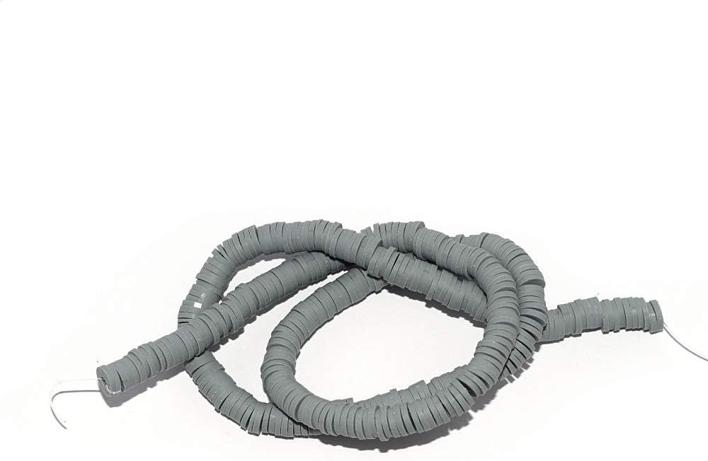 Perle rondelle heishi polym/ère gris x380