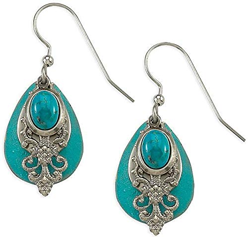 - Silver Forest Turquoise Blue Filigree Earrings One Size