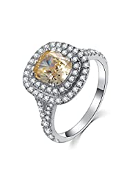 2CT NSCD Simulate 18K White Gold Plated Brand Ring Yellow Cushion Diamond Ring for Women Engagement 925 Silver Ring