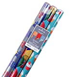 Arts & Crafts : Hallmark Reversible Wrapping Paper, Celebrate (Pack of 3, 120 sq. ft. ttl.)