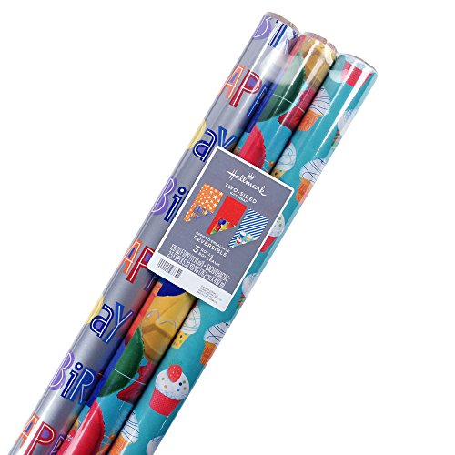 Hallmark Reversible Birthday Wrapping Paper, Celebrate (Pack of 3, 120 sq. ft. ttl.)