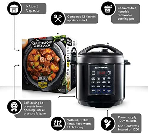 GRANITESTONE 2590 12-in-1 Multicooker with LED Display, Electric Pressure Cooker, Slow Cooker, Rice Cooker, Steamer, Saute, Yogurt Maker and Warmer, 6 Quart, 12 Pre-Set Functions As Seen On TV