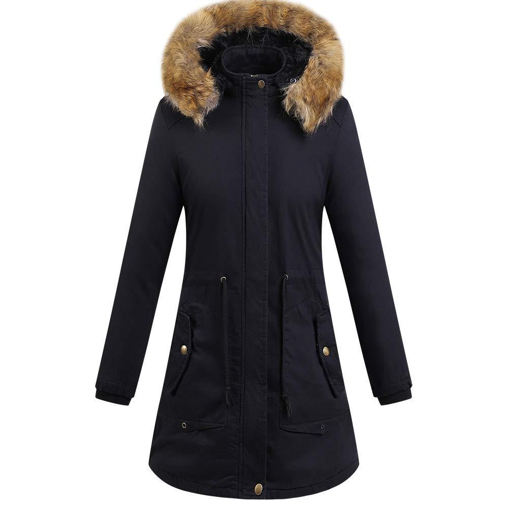 UONQD Womens Faux Fur Winter Jacket Parka Hooded Coat Fishtail Overcoat (Large, Black)