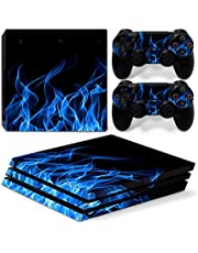 Mcbazel Pattern Series Vinyl Skin Sticker For PS4 Pro Controller & Console Protect Cover Decal Skin (Blue Flame)