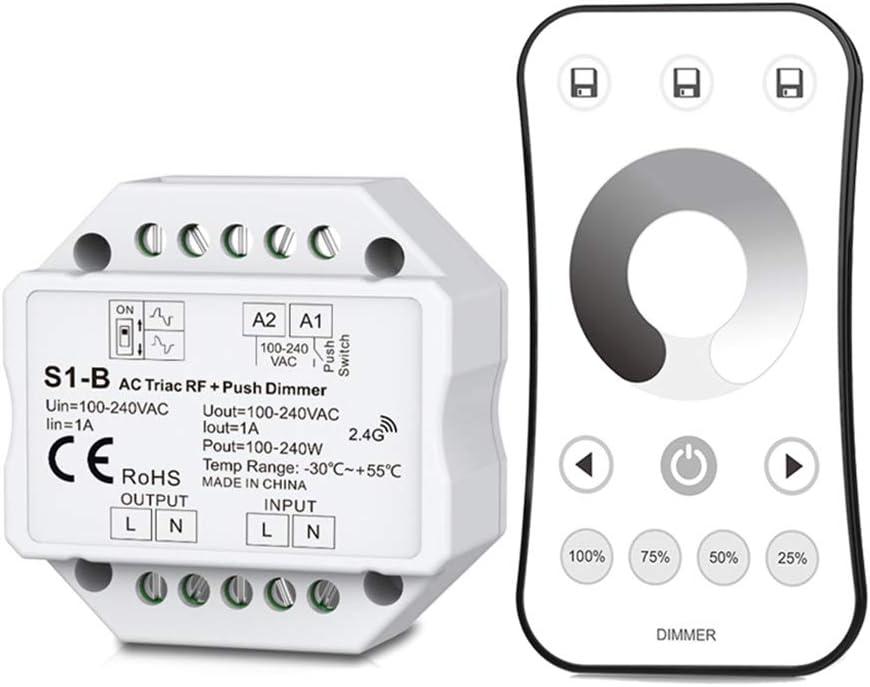 Fafalloagrron - Regulador de intensidad de corriente alterna con mando a distancia de 2,4 G para lámpara LED