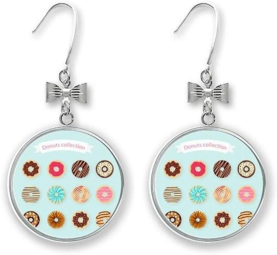 Dangly Earrings Gold Disc Ceramic Earrings with Sterling Silver Donut Earrings