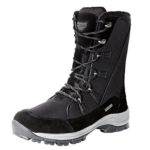 Roadmark Women Waterproof Snow Boots Warm Insulated Boot Winter Outdoor Shoes Mid Calf Light Weight (US10, Black)