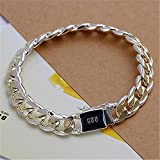 10mm Sterling Gold Silver 10MM Square Agraffe Men Chain Charm Bangle Bracelet CN LOVE STORY