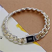 10mm Sterling Gold Silver 10MM Square Agraffe Men Chain Charm Bangle Bracelet CN LOVE STORY ืnogluck