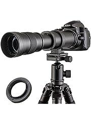 JINTU 420-800mm F/8.3-16 Telephoto Manual Zoom Lens voor Nikon D7100 D80 D90 D600 D5000 D5100 D3200 D7000 D7200 DSLR Digitale Camera met Aluminium Zwart