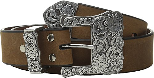 Nocona Ladies Brown Belt (Nocona Women's Three Piece Floral Buckle Belt, Medium Brown Distressed,)