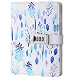 Mruiks A5 PU Leather Wirebound Notebooks with Lock Diary Book The Pen not Included NPN112 (Blue)