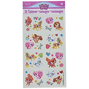 """Amscan Adorable Disney Palace Birthday Party Tattoo Favors, Multicolor, 2"""" x 1 3/4"""""""