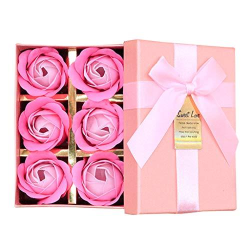 Matoen Rose Soap Flower Gift Box 6 Piece Creative Gift Scented Bath Body Petal Rose Flower Soap Wedding Decoration Gift Best 6pc (Pink)