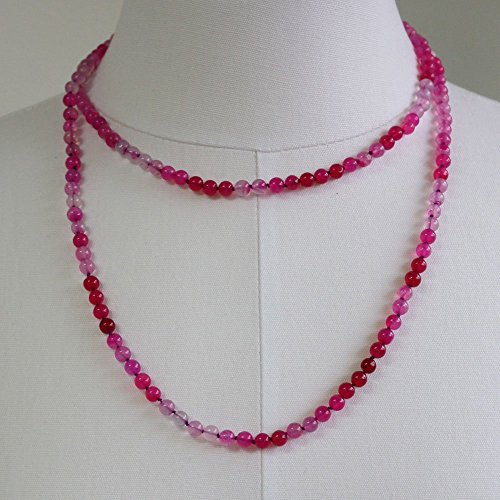 Knotted Silk Cord - Hot Pink Chalcedony Necklace, Hand Knotted Silk Cord Necklace