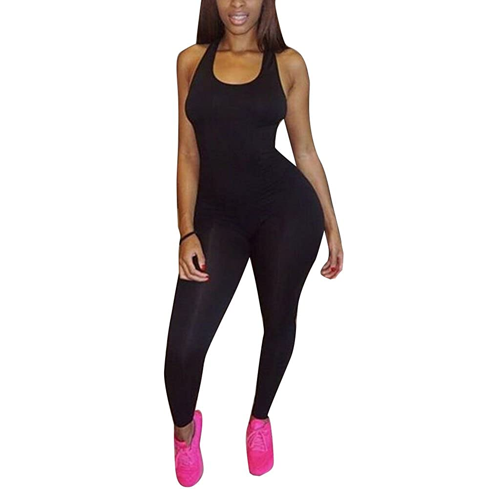24fe3a1926 Amazon.com  TheFound Women s Basic Sleeveless Tank Jumpsuit Bodycon Long  Pants  Clothing