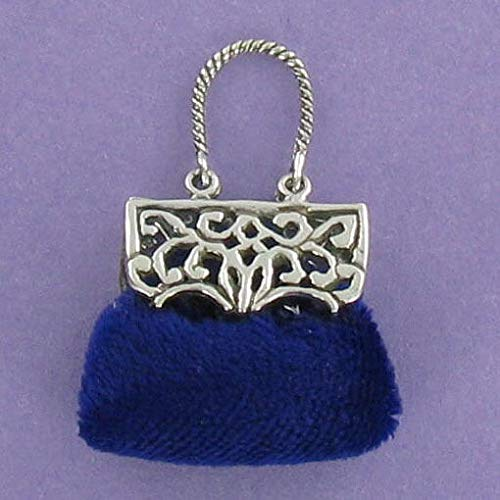 Blue Velvet Purse with Sterling Silver 925 Pendant or Collectible Bag Filigree - Jewelry Accessories Key Chain Bracelets Crafting Bracelet Necklace Pendants (Filigree Bracelet Marcasite)